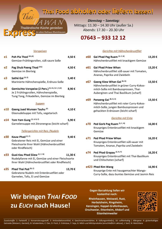 Express-Speisekarte | Restaurant Thai Tawan